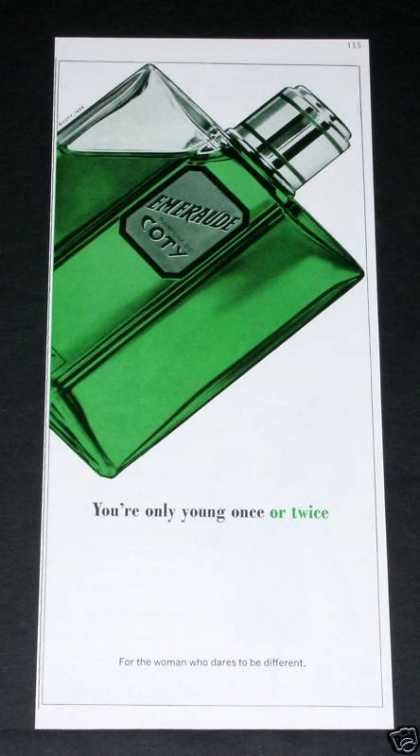 Old , &quot;Emeraude&quot; Perfume, Coty (1964)