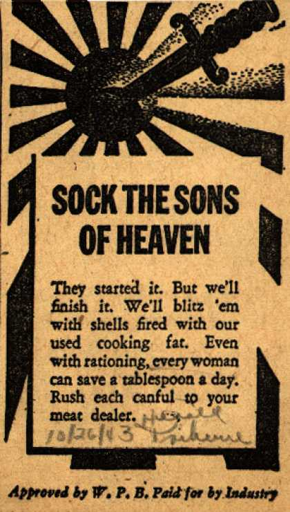 War Production Board's Cooking Fats – Sock The Sons Of Heaven (1943)