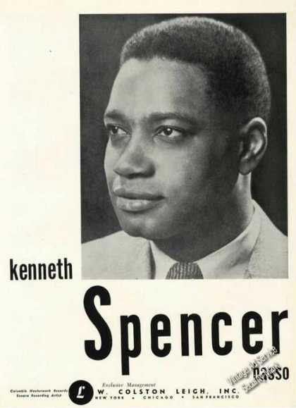 Kenneth Spencer Photo Opera Rare Ad Music (1948)