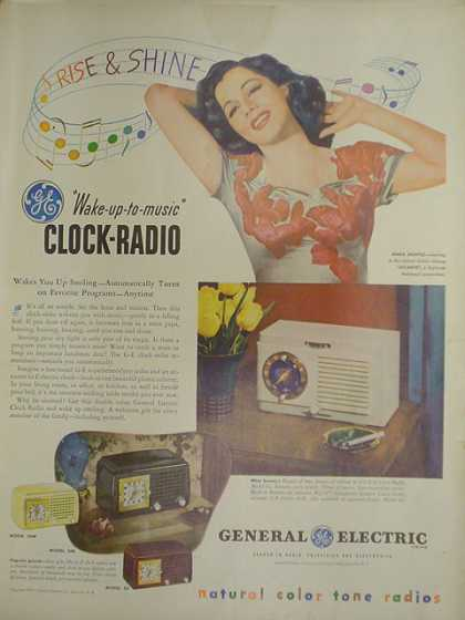 General Electric GE Clock Radio. Rise and shine (1947)