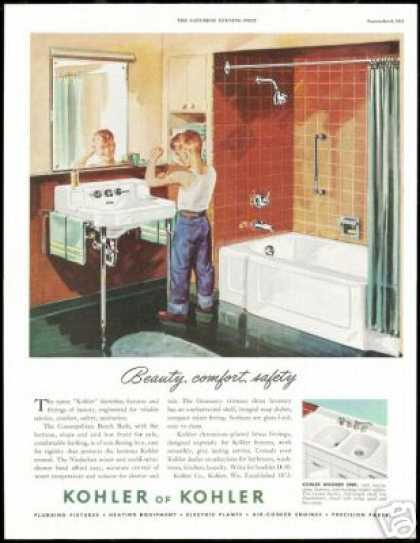 Boy Mirror Muscles Kohler Bathroom Fixture (1951)