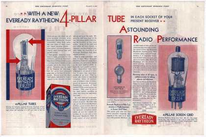 National Carbon Company's Radio Tubes – With A New Eveready Raytheon 4-Pillar Tube In Each Socket Of Your Present Receiver Astounding Radio Performance (1929)