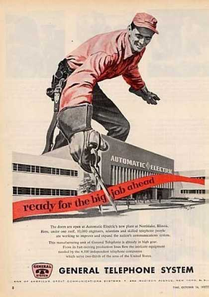 "General Telephone System Ad ""Ready for the Big Job (1957)"