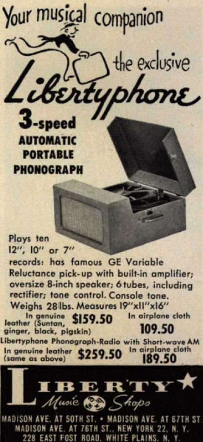 Liberty Music Shop's Libertyphone – Your musical companion the exclusive Libertyphone (1952)