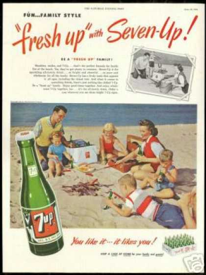 7up Family Photo Beach Hotdogs Vintage 7-up (1951)