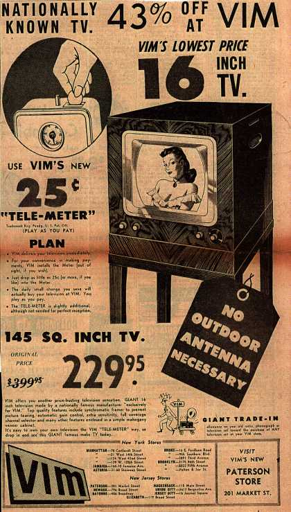 VIM – Nationally Known TV (1949)