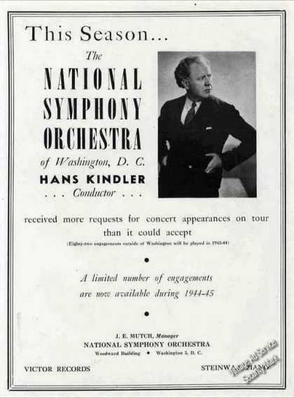 National Symphony Orchestra Hans Kindler Trade (1944)