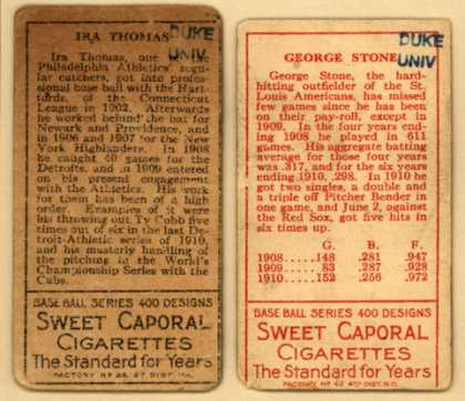 Kinney Bros.'s Sweet Caporal Cigarettes – Baseball Series (long series) – Image 2