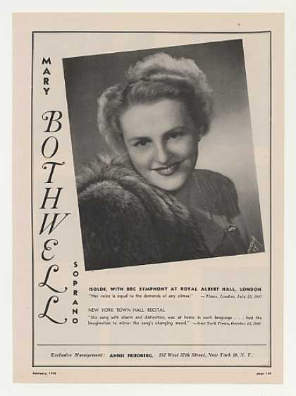 Soprano Mary Bothwell Photo Vintage (1948)