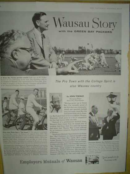 Employers Mutual of Wausau Insurance. Wausau story with the Green Bay Packers (1958)
