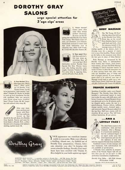"Dorothy Gray's Various – Dorothy Gray Salons urge special attention for 3 ""age-sign"" areas (1938)"