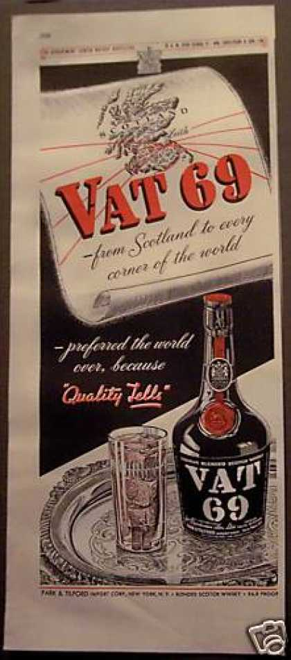 Original Scotland Vat 69 Scotch Whisky (1948)