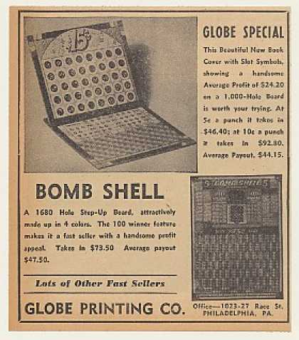 Globe Special Bomb Shell Punch Board Game (1940)