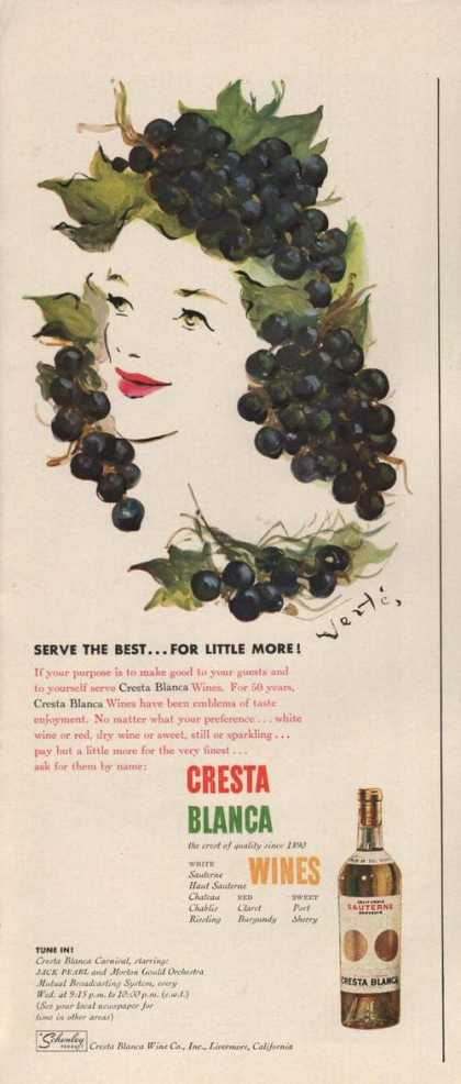 Serve the Best Cresta Blanca Wines Print A (1942)