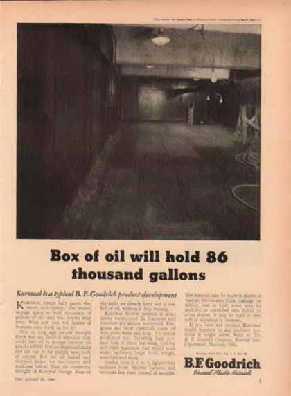 B.F. Goodrich – Koroseal, Box of oil will hold 86 thousand gallons (1949)