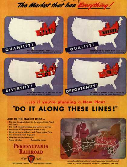 "Pennsylvania Railroad – The Market that has Everything! ...so if you're planning a New Plant ""Do It Along These Lines!"" (1946)"