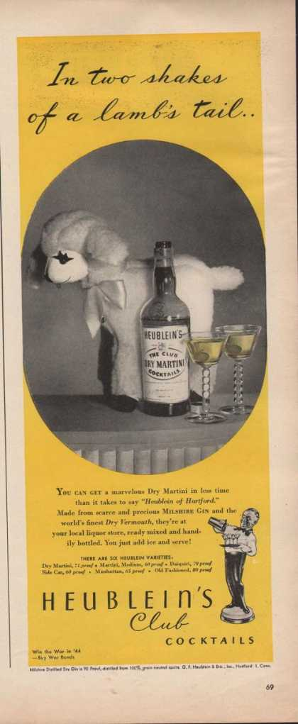 Heubleins Club Cocktail Lambs Tail (1942)