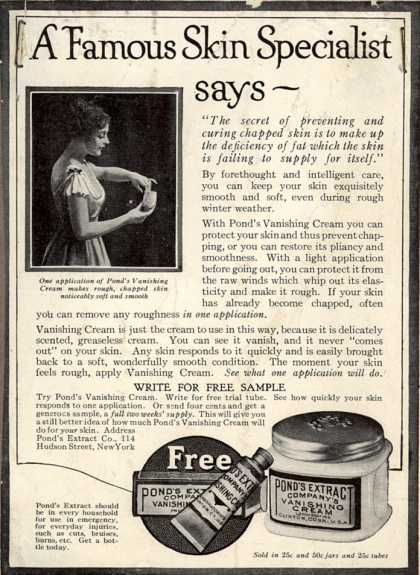 Pond's Extract Co.'s Pond's Vanishing Cream – A Famous Skin Specialist says - (1916)