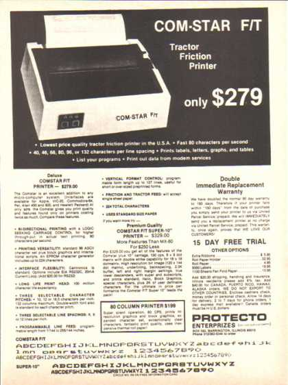 Protecto Enterprizes – Com-Star F/T Printer (1983)