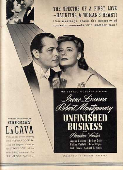 Unfinished Business (Irene Dunne, Robert Montgomery and Preston Foster) (1941)