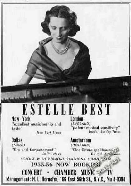 Estelle Best Photo Pianist Booking (1955)