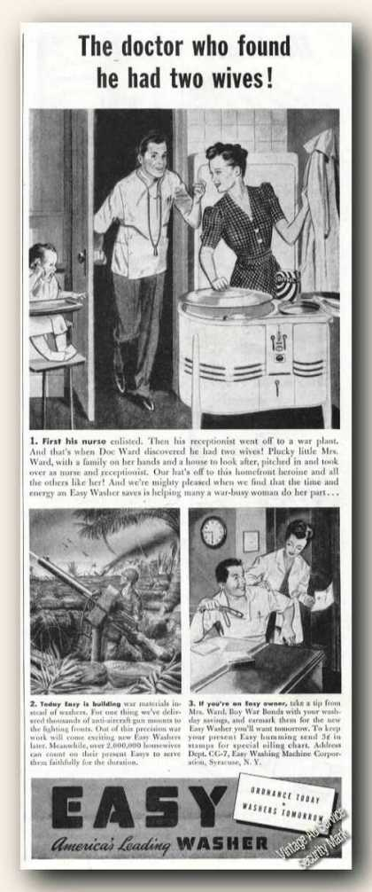 Easy Clothes Washer Doctor Had 2 Wives Wwii (1943)