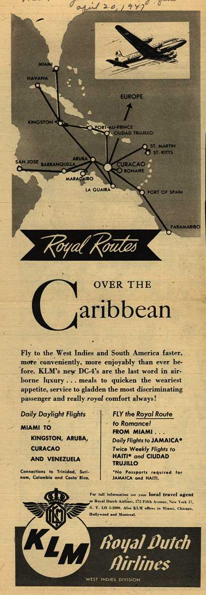 KLM Royal Dutch Airline's Caribbean – Royal Routes Over The Caribbean (1947)