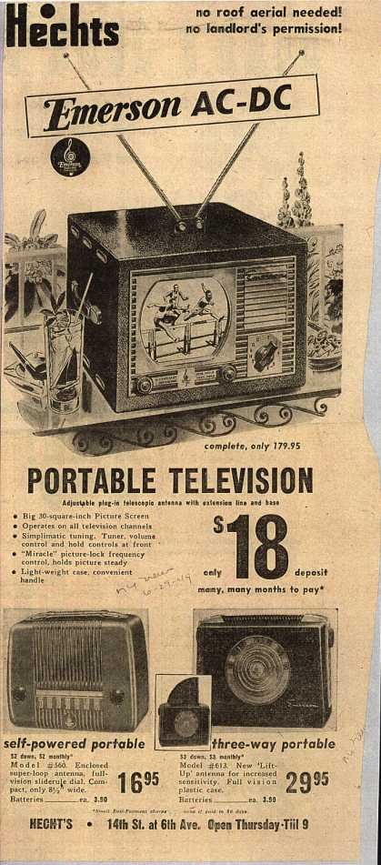 Emerson Radio and Phonograph Corporation's Portable Television – Emerson AC-DC Portable Television (1949)