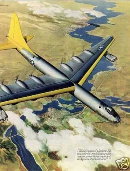 United Aircraft 2 Page Ad B-36 Bomber (1951)
