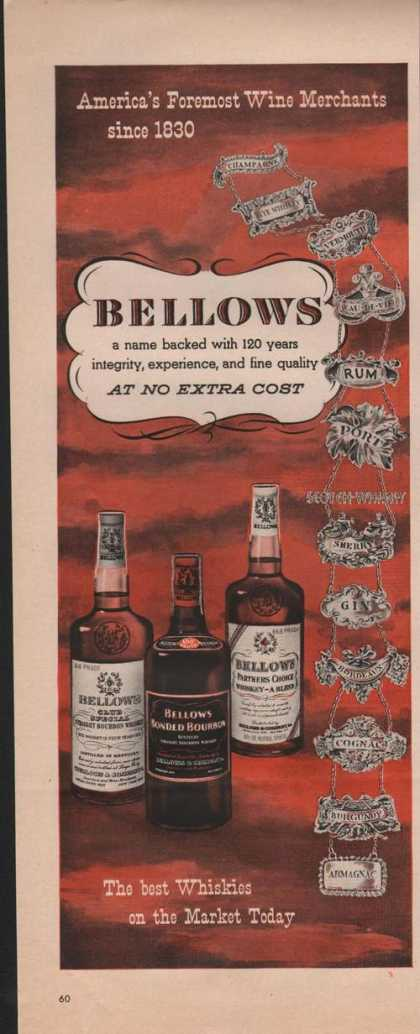 Bellows Best Whiskies On the Market (1951)