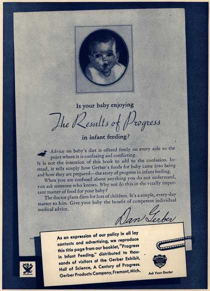 Gerber Products Company's Gerber Baby Foods – Is your baby enjoying The Results of Progress in infant feeding? (1933)