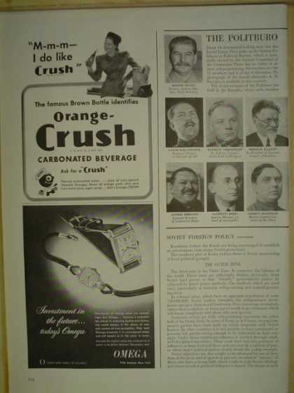 Orange Crush Carbonated Beverage AND Omega Watches (1946)