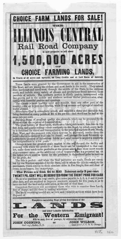 Choice farm lands for sale! The Illinois Central rail road company is now prepared to sell about 1,500,000 acres of choice farming lands in tracts of (1857)