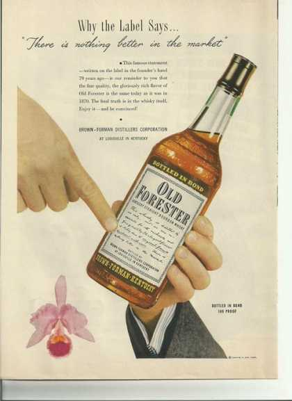 Old Forester Bourbon Whisky (1949)