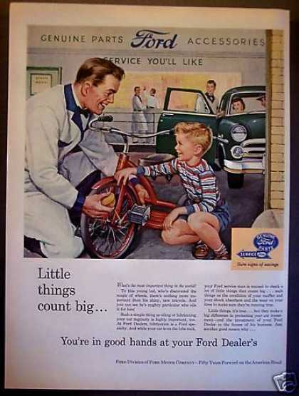 Ford Car Repair Little Boy W/ Tricycle (1953)