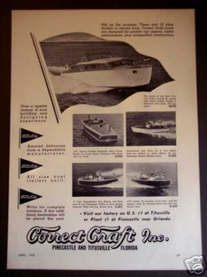 Correct Craft Boats 28' Cruiser + 6 More Models (1950)