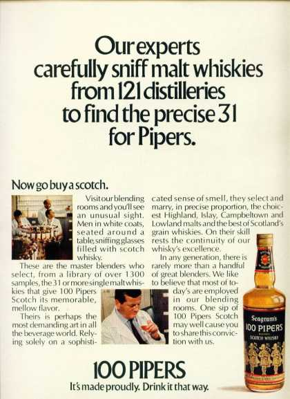 100 Pipers Blended Scotch Whisky C (1970)