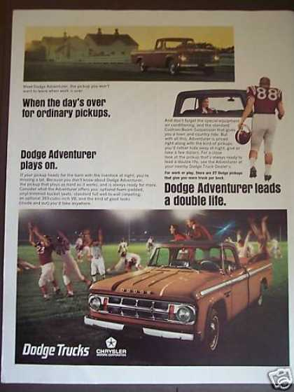 Dodge Adventurer Pickup Truck Football Photo (1967)