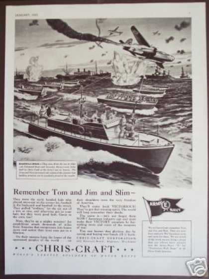 Chris-craft Boats for War Wwii Battle Scene Art (1943)