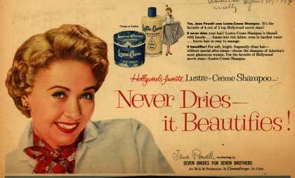 Kay Daumit's Lustre-Creme Shampoo – Hollywood's favorite Lustre-Creme Shampoo... Never Dries-it Beautifies (1954)