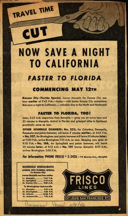 St. Louis San Francisco Railway's various – Now Save A Night To California (1946)