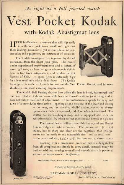 Kodak – As right as a full jeweled watch. Vest Pocket Kodak with Kodak Anastigmatic lens (1914)