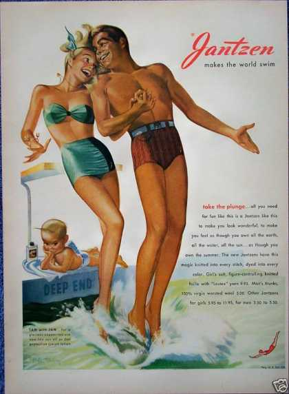 Jantzen Swim Suit Sexy Couple Jump Deep End Pool (1947)