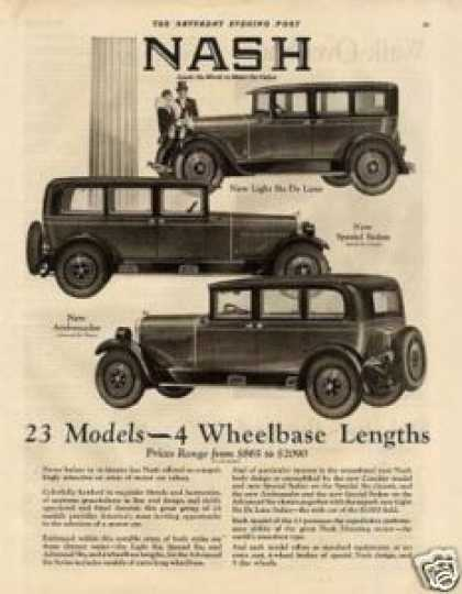 Nash Cars Ad 3 Models (1927)