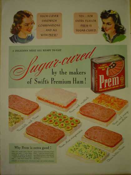Swift Premium Prem Sugar cured canned ham (1941)
