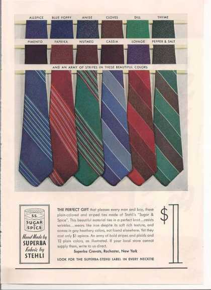 Superba Cravats Fabric Stehli Mens Ties (1939)