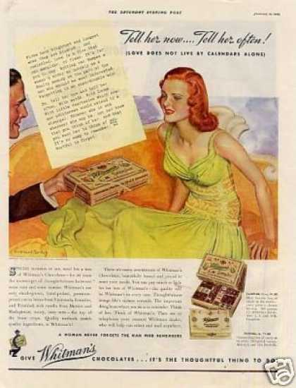 Whitman's Chocolate Candy Ad Barclay Art (1940)