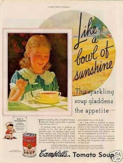 "Campbell's Tomato Soup Ad ""Like a Bowl of Sunshine (1935)"