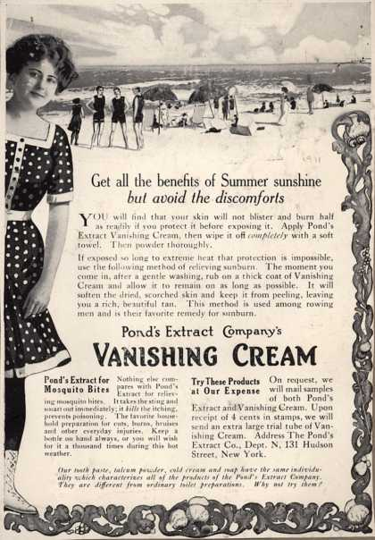 Pond's Extract Co.'s Pond's Vanishing Cream – Get all the benefits of Summer sunshine but avoid the discomforts (1911)