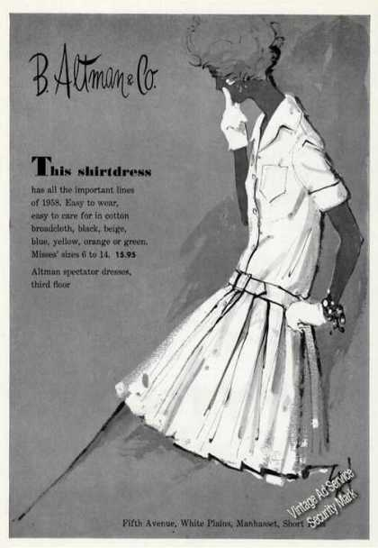 Fashion Art B Altman Shirtdress (1958)